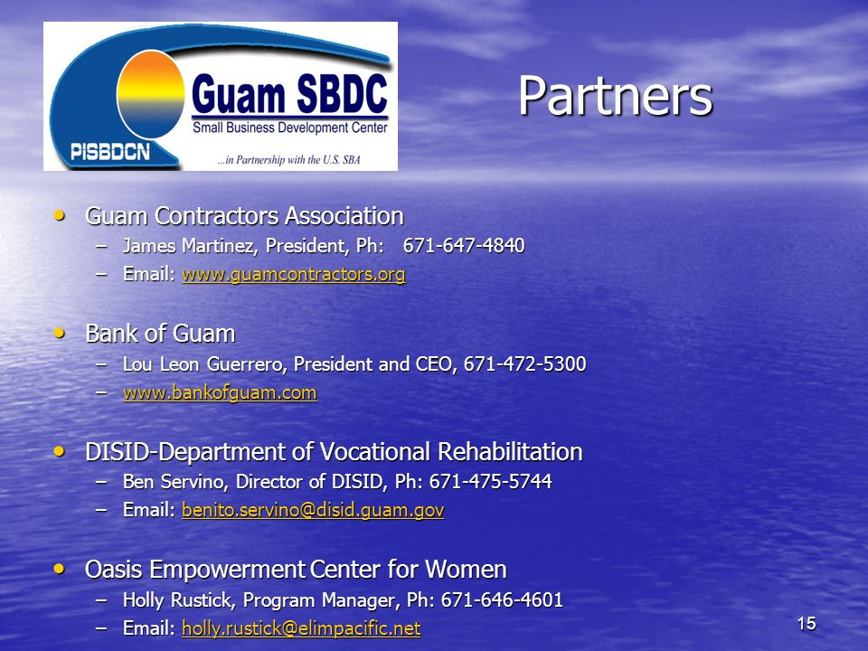 Partners Guam Contractors Association Bank of Guam