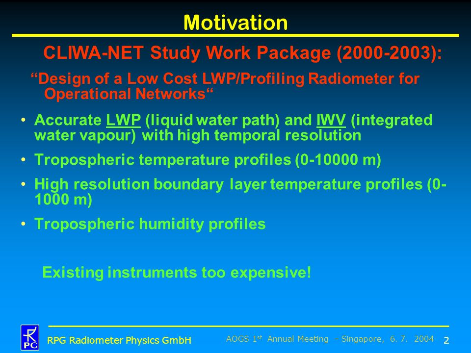 Motivation CLIWA-NET Study Work Package ( ):