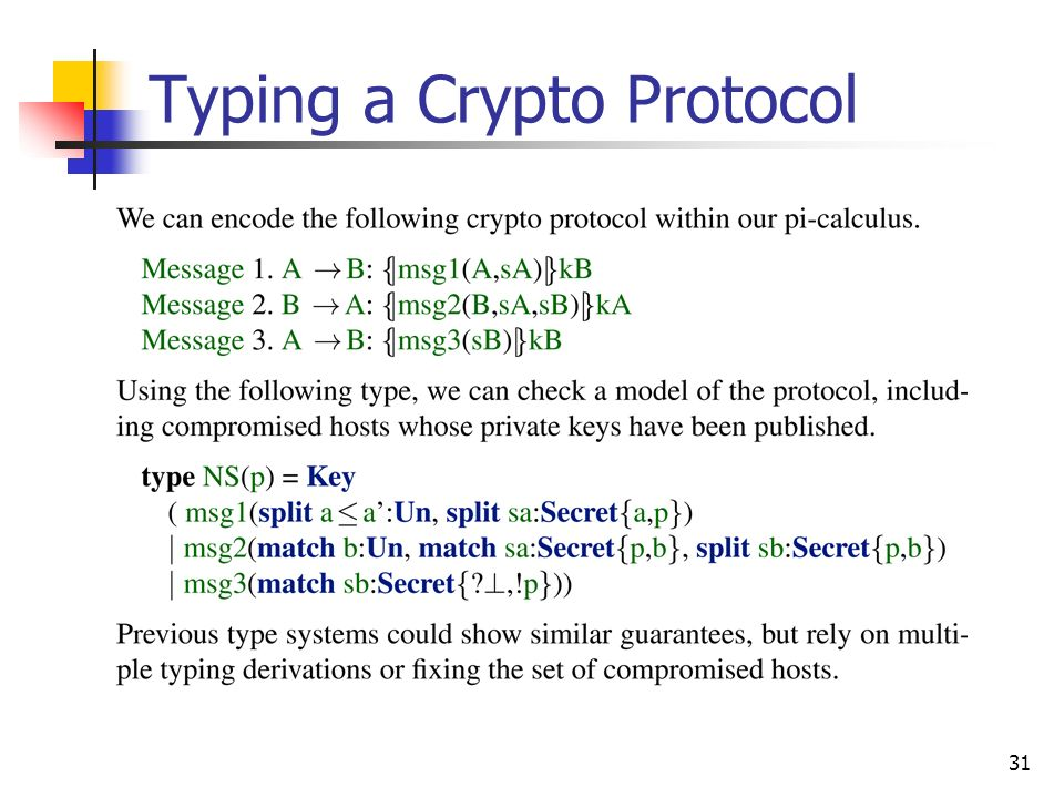 Typing a Crypto Protocol
