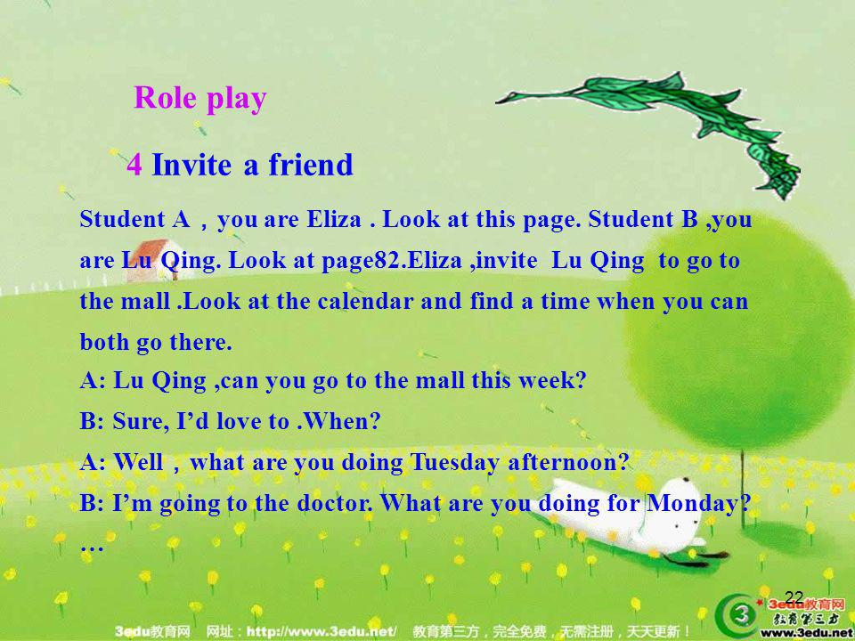 Role play 4 Invite a friend