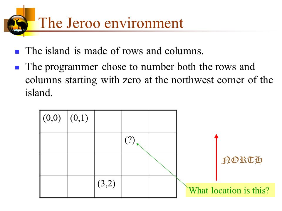 The Jeroo environment The island is made of rows and columns.