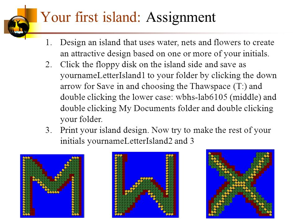 Your first island: Assignment
