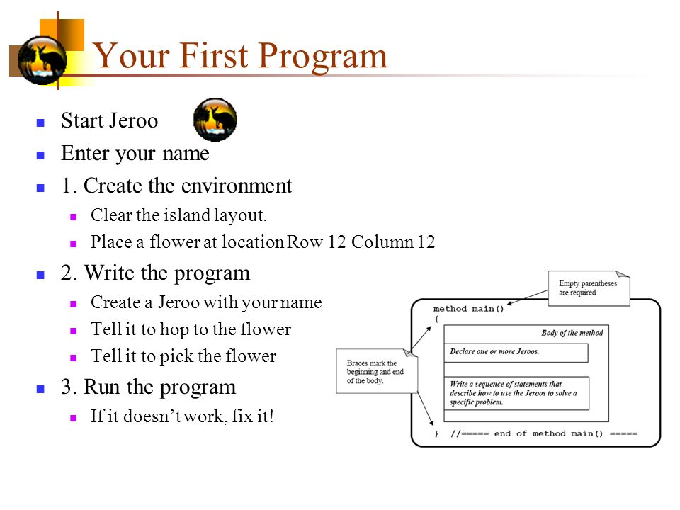 Your First Program Start Jeroo Enter your name