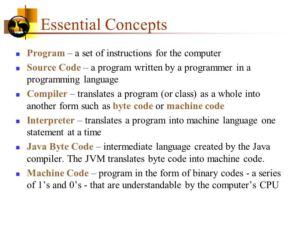 Essential Concepts Program – a set of instructions for the computer