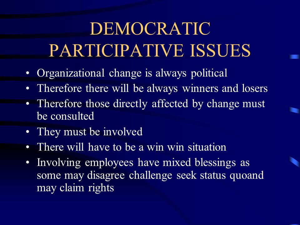 DEMOCRATIC PARTICIPATIVE ISSUES