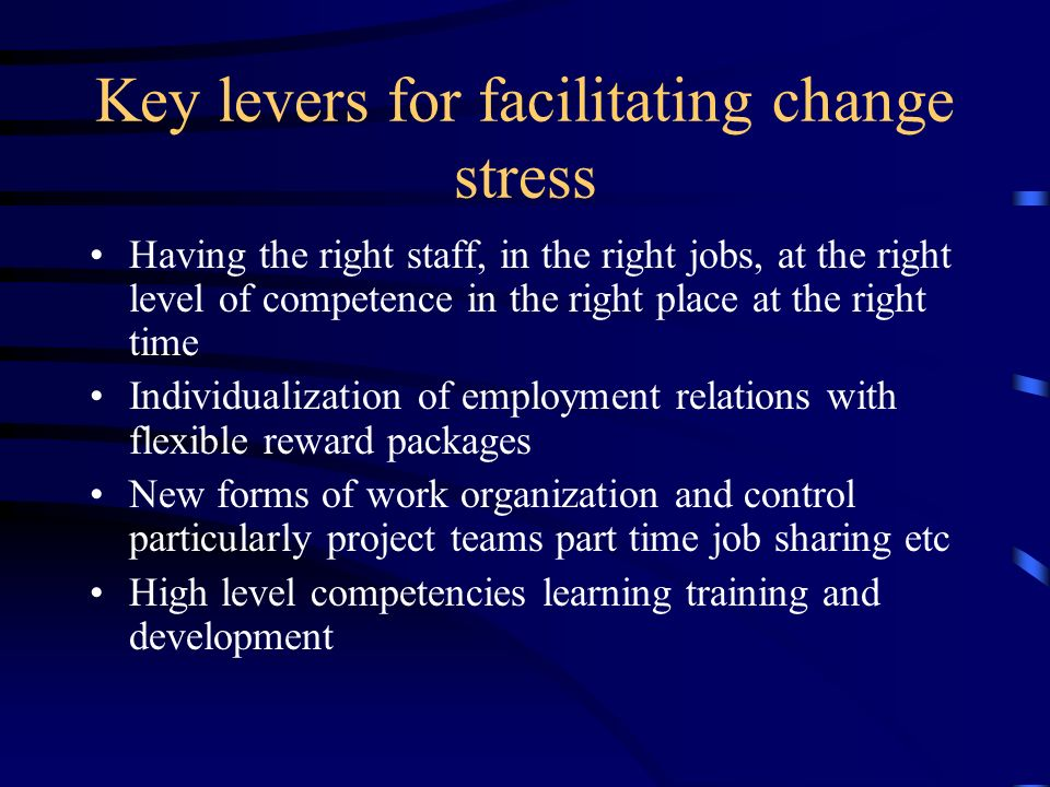 Key levers for facilitating change stress