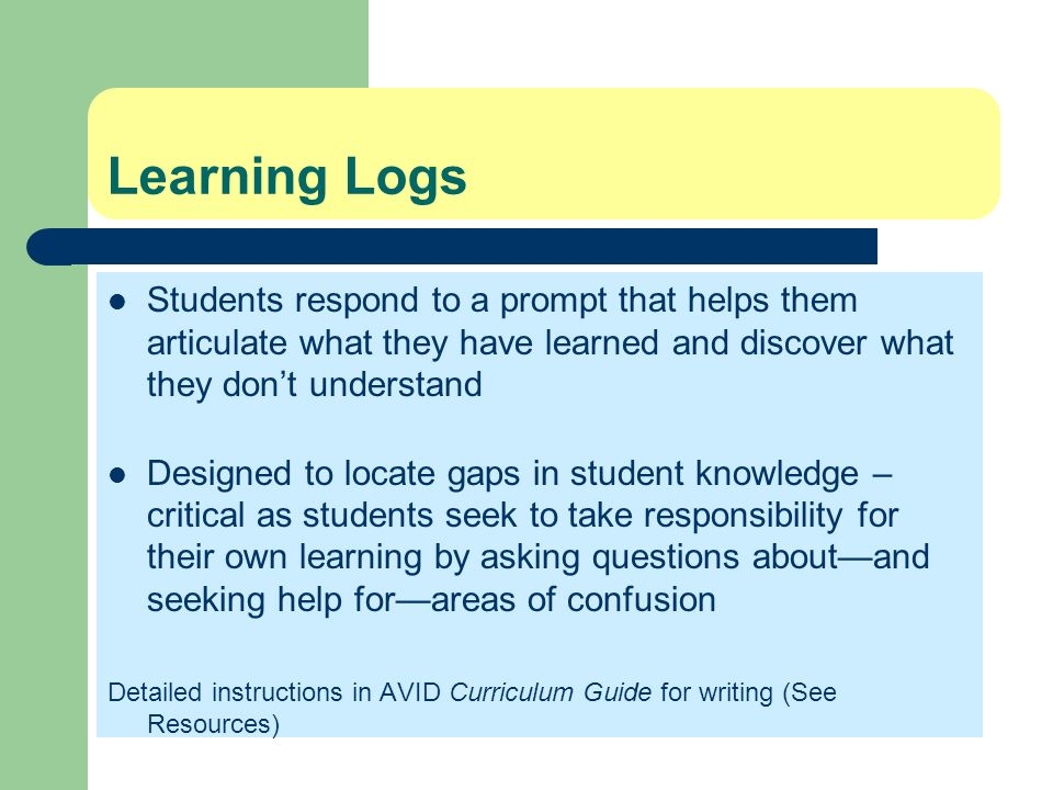 Learning Logs Students respond to a prompt that helps them articulate what they have learned and discover what they don't understand.