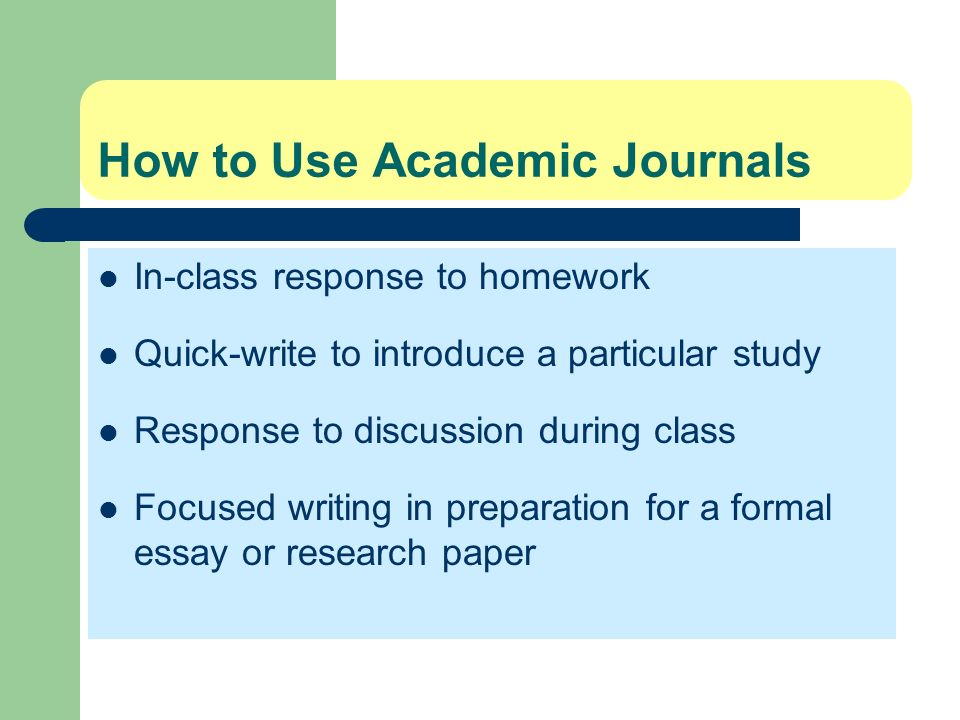 How to Use Academic Journals