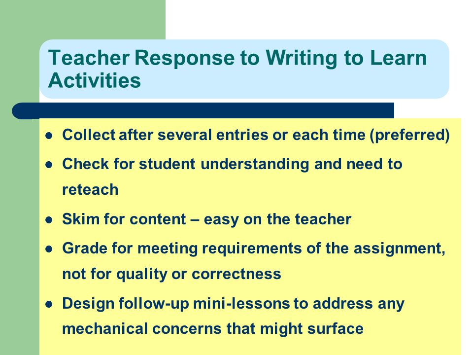 Teacher Response to Writing to Learn Activities