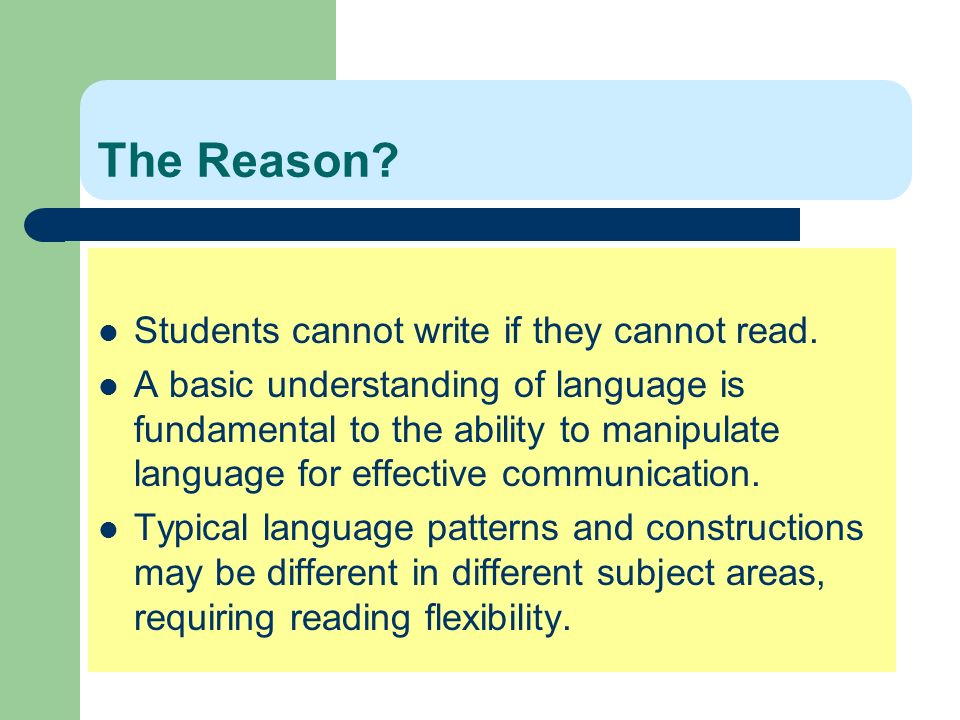 The Reason Students cannot write if they cannot read.