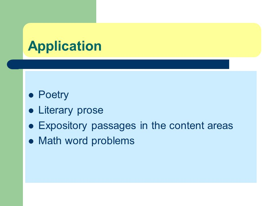 Application Poetry Literary prose