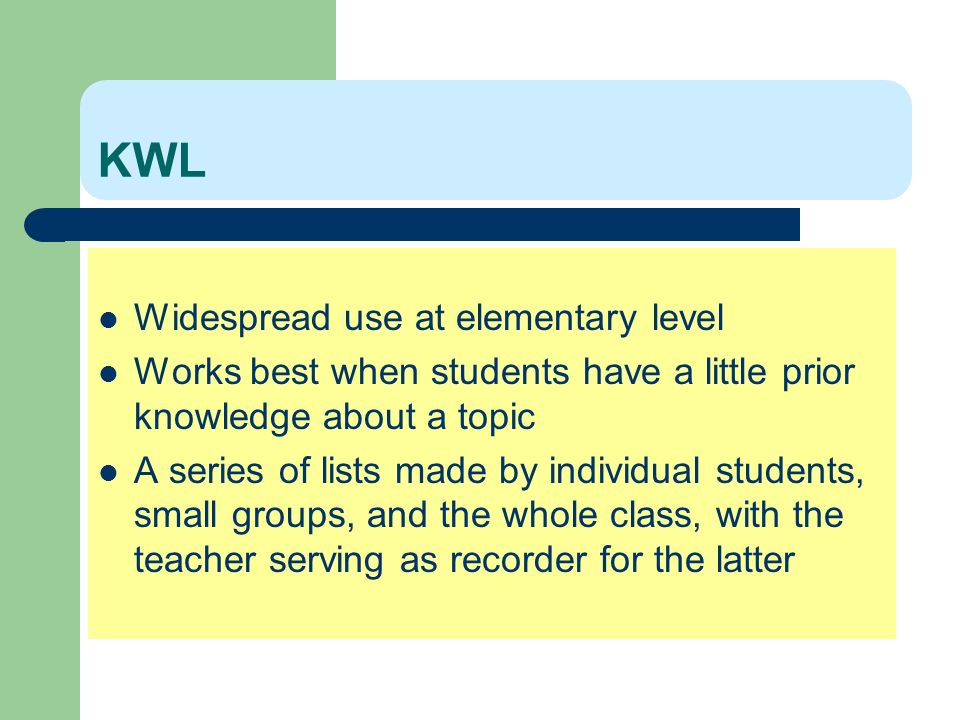 KWL Widespread use at elementary level