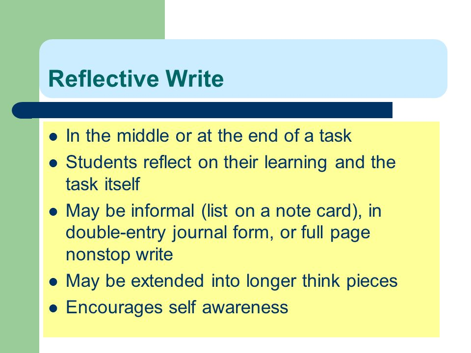 Reflective Write In the middle or at the end of a task