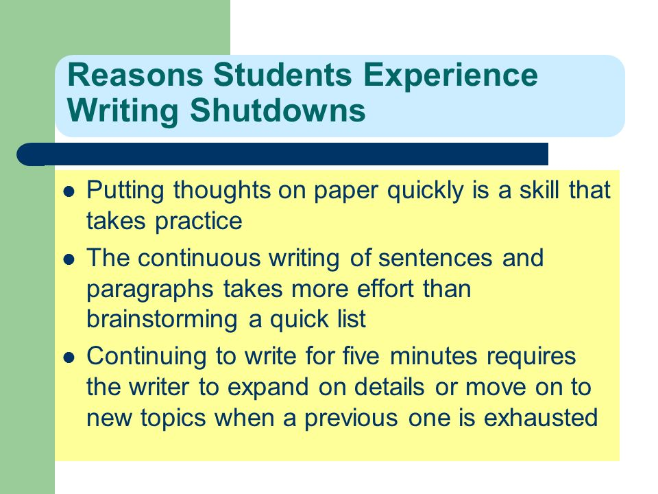 Reasons Students Experience Writing Shutdowns