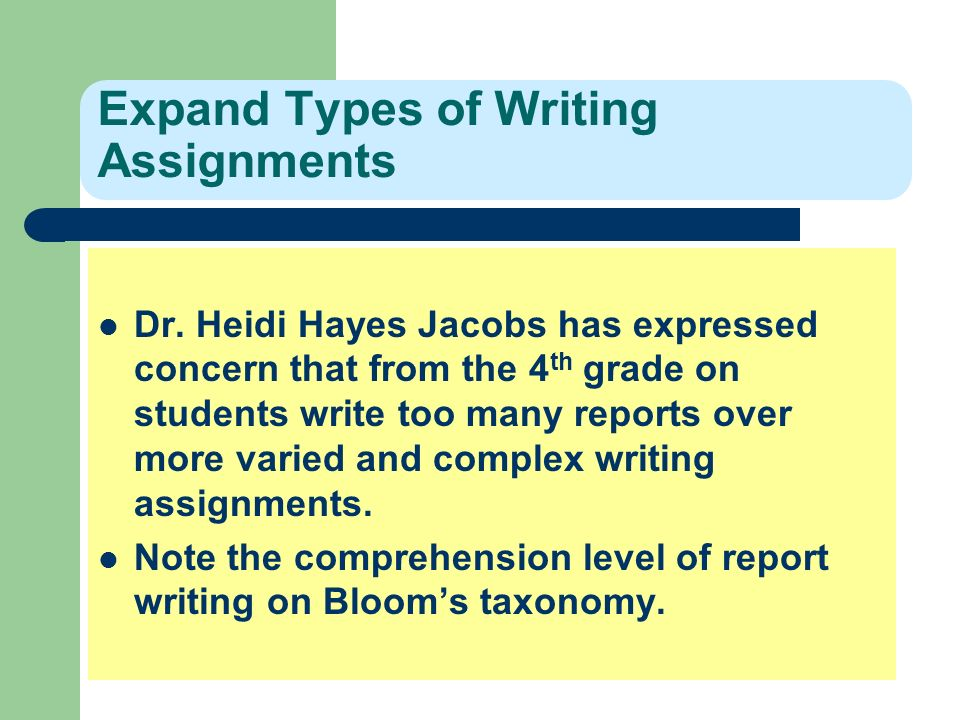 Expand Types of Writing Assignments