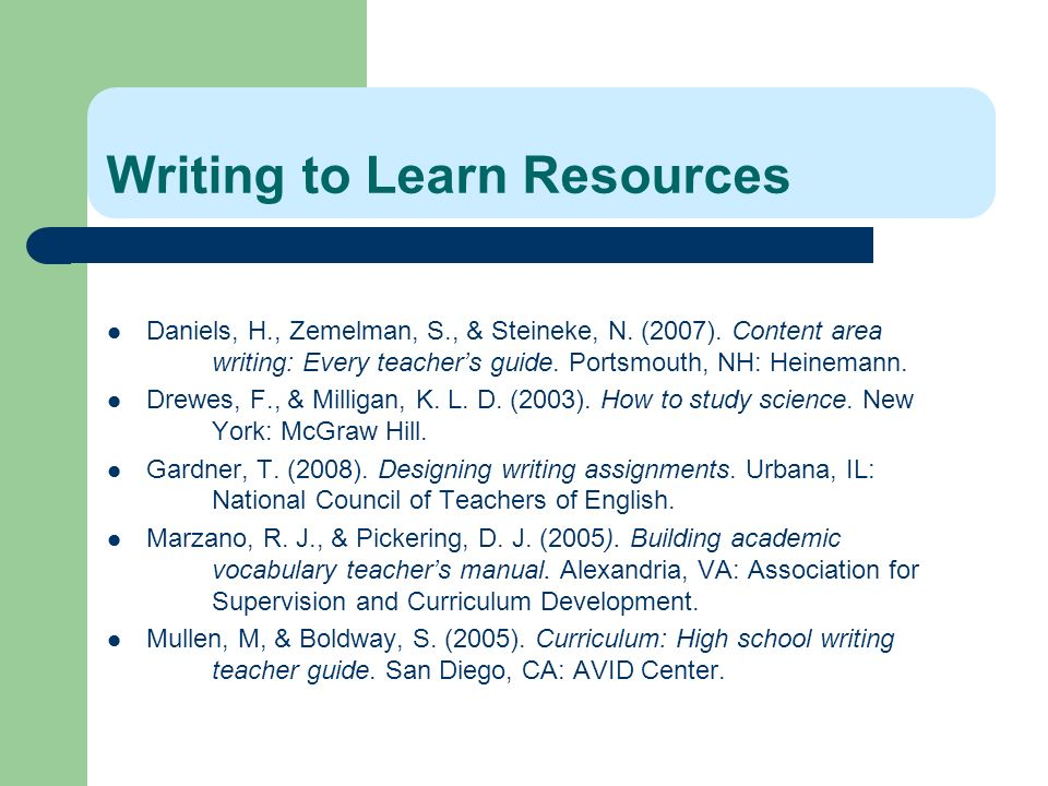 Writing to Learn Resources