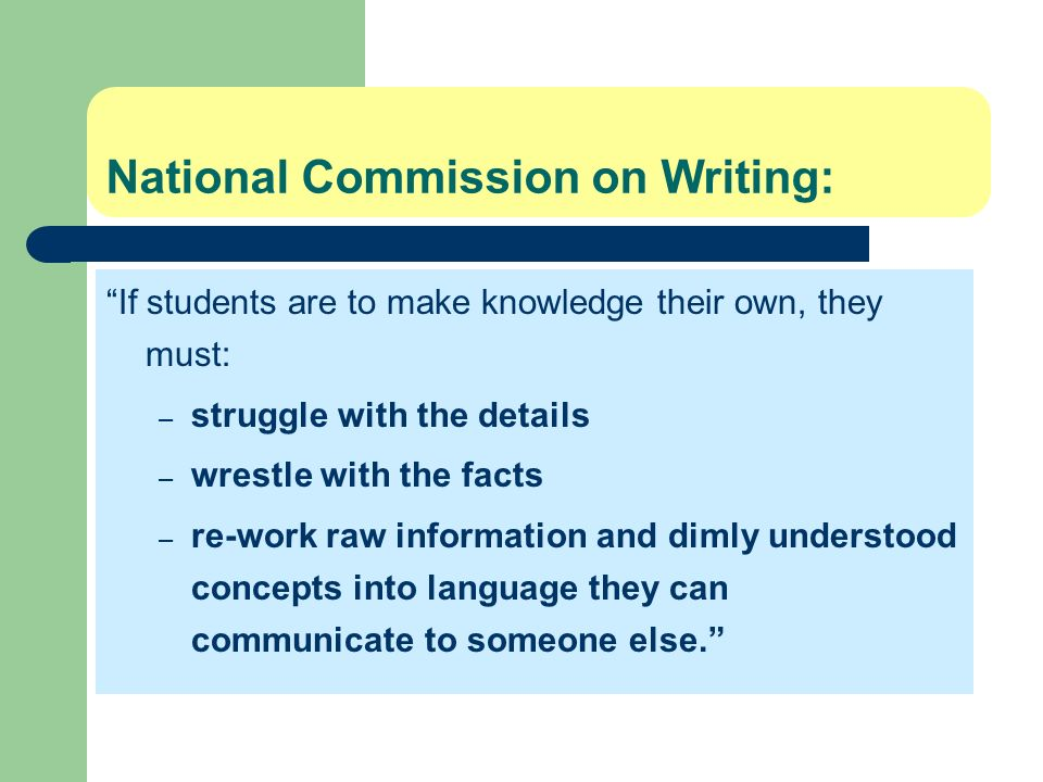 National Commission on Writing: