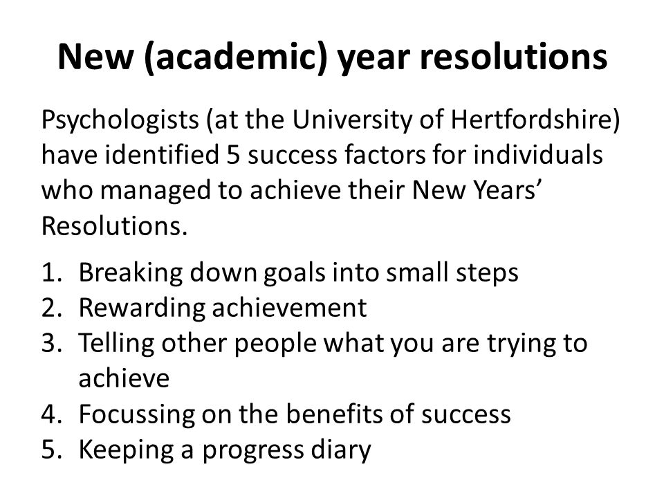 New (academic) year resolutions