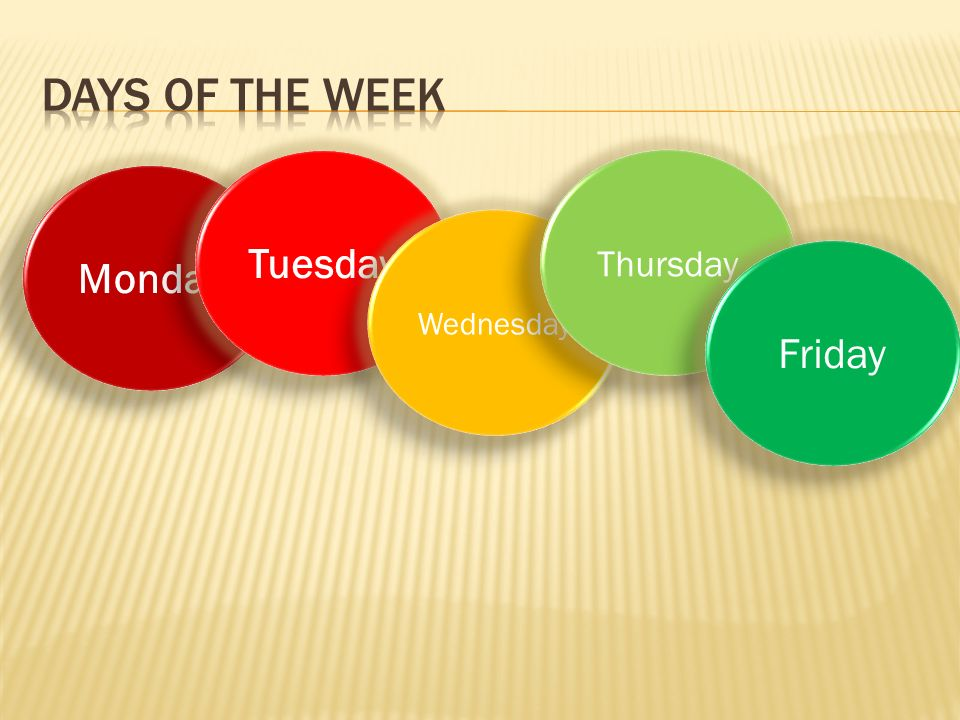 Days of the week Tuesday Thursday Monday Wednesday Friday