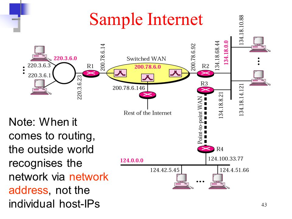 Sample Internet Note: When it comes to routing, the outside world recognises the network via network address, not the individual host-IPs.
