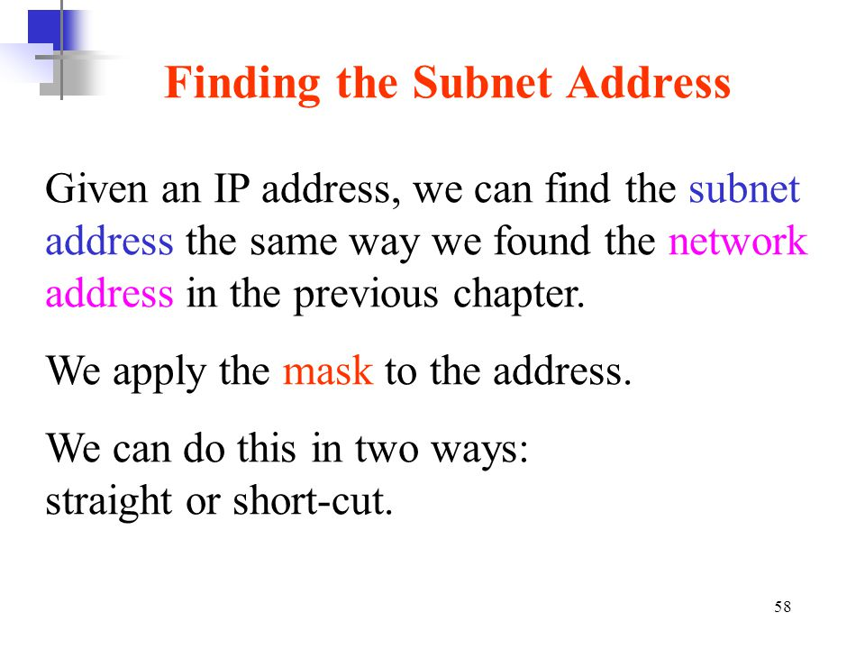 Finding the Subnet Address