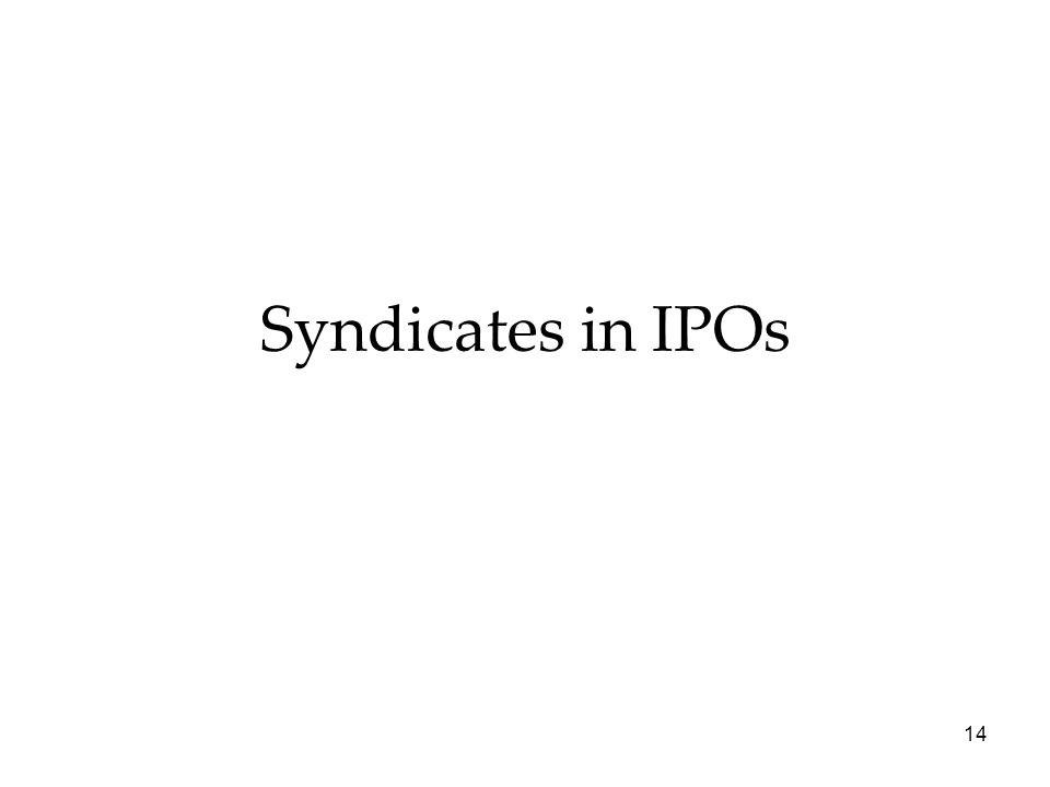 Syndicates in IPOs