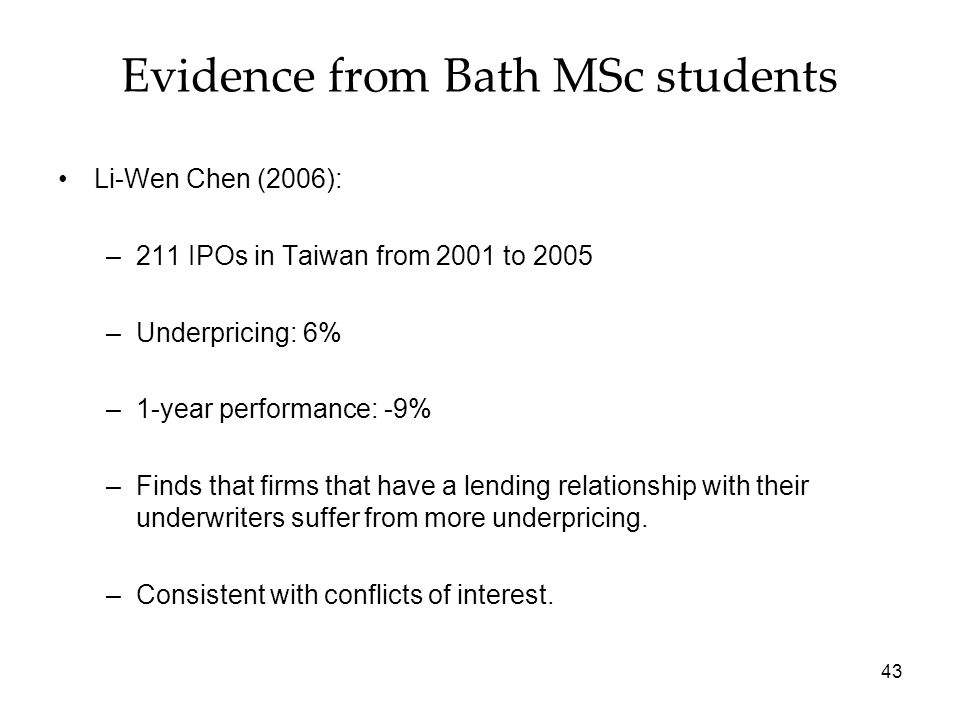Evidence from Bath MSc students