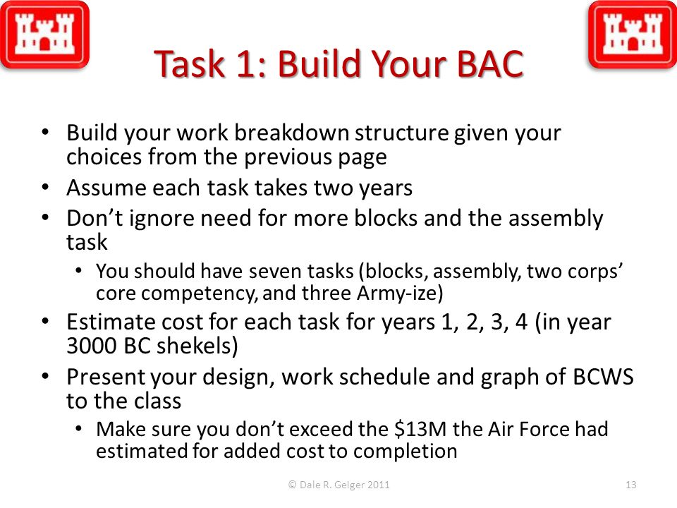 Task 1: Build Your BAC Build your work breakdown structure given your choices from the previous page.