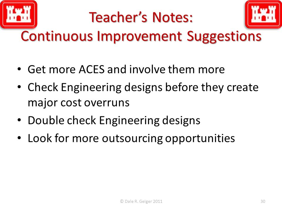Teacher's Notes: Continuous Improvement Suggestions