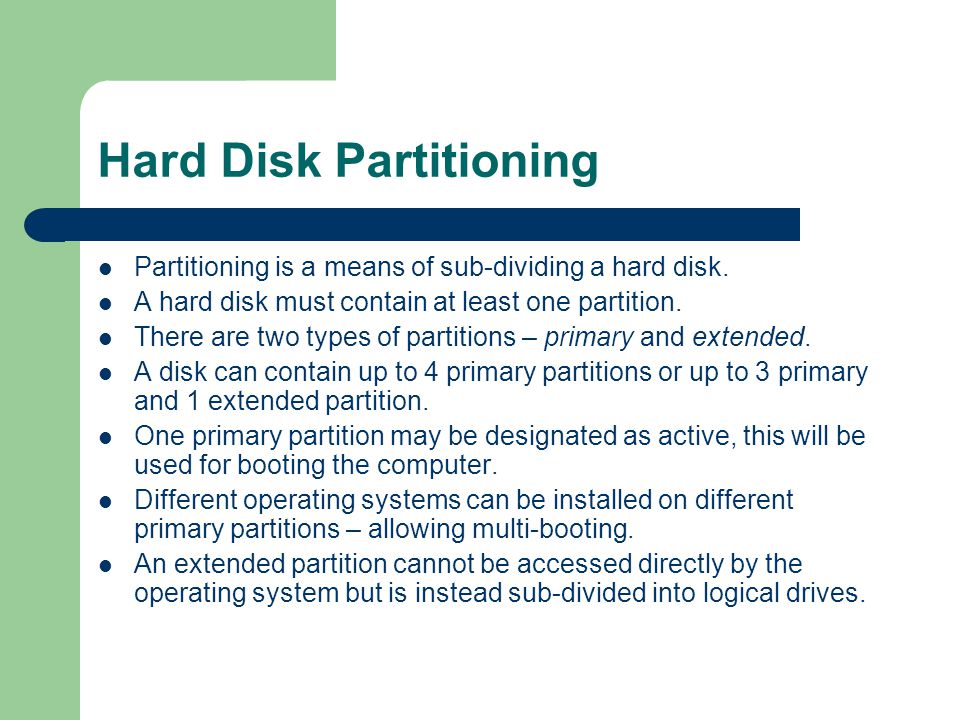 Hard Disk Partitioning