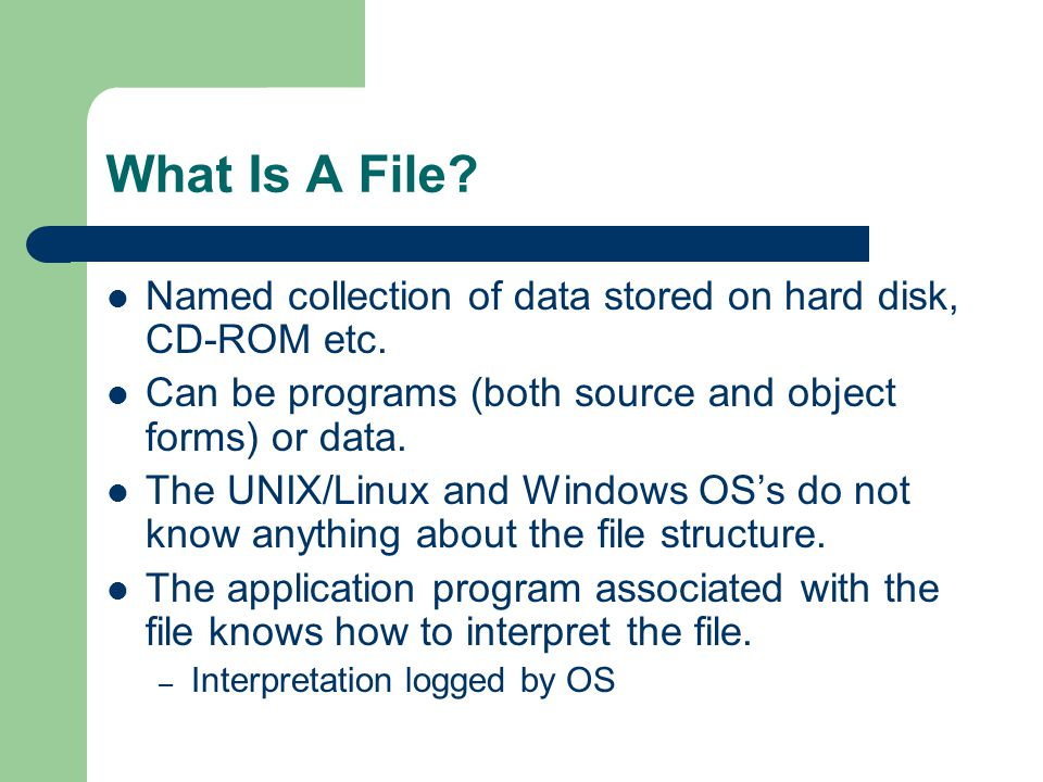 What Is A File Named collection of data stored on hard disk, CD-ROM etc. Can be programs (both source and object forms) or data.