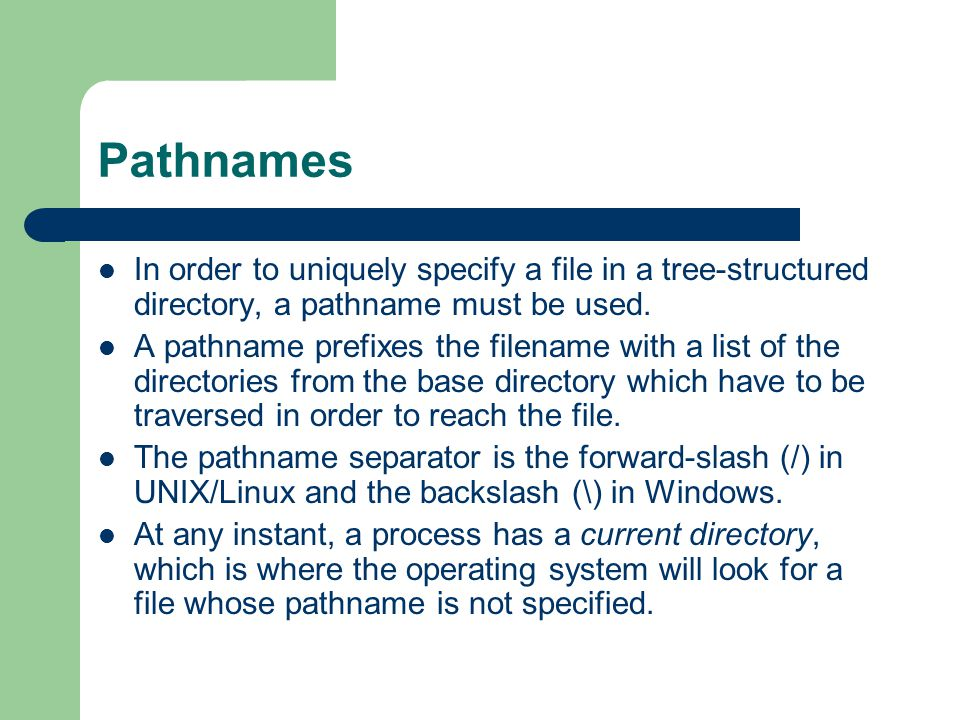 Pathnames In order to uniquely specify a file in a tree-structured directory, a pathname must be used.