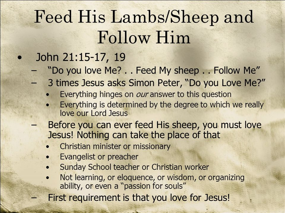 Feed His Lambs/Sheep and Follow Him
