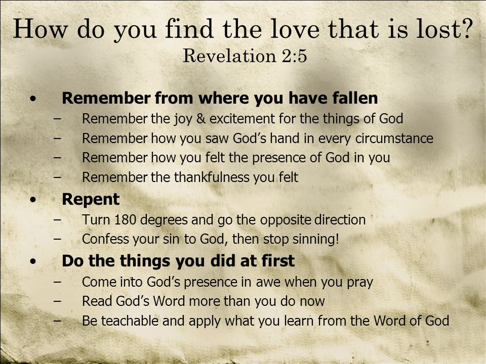 How do you find the love that is lost Revelation 2:5