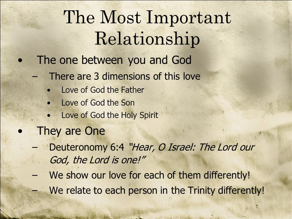 The Most Important Relationship