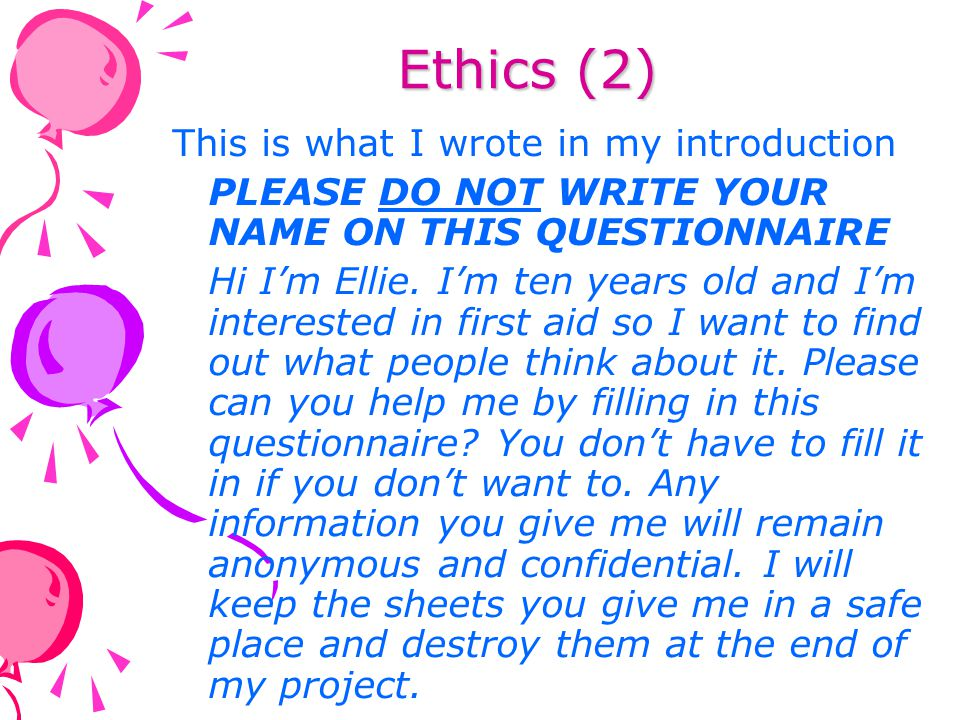 Ethics (2) This is what I wrote in my introduction