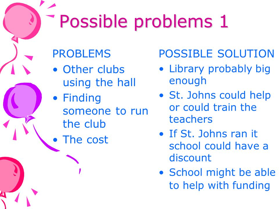 Possible problems 1 PROBLEMS Other clubs using the hall