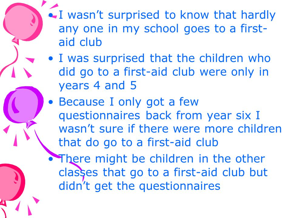 I wasn't surprised to know that hardly any one in my school goes to a first-aid club