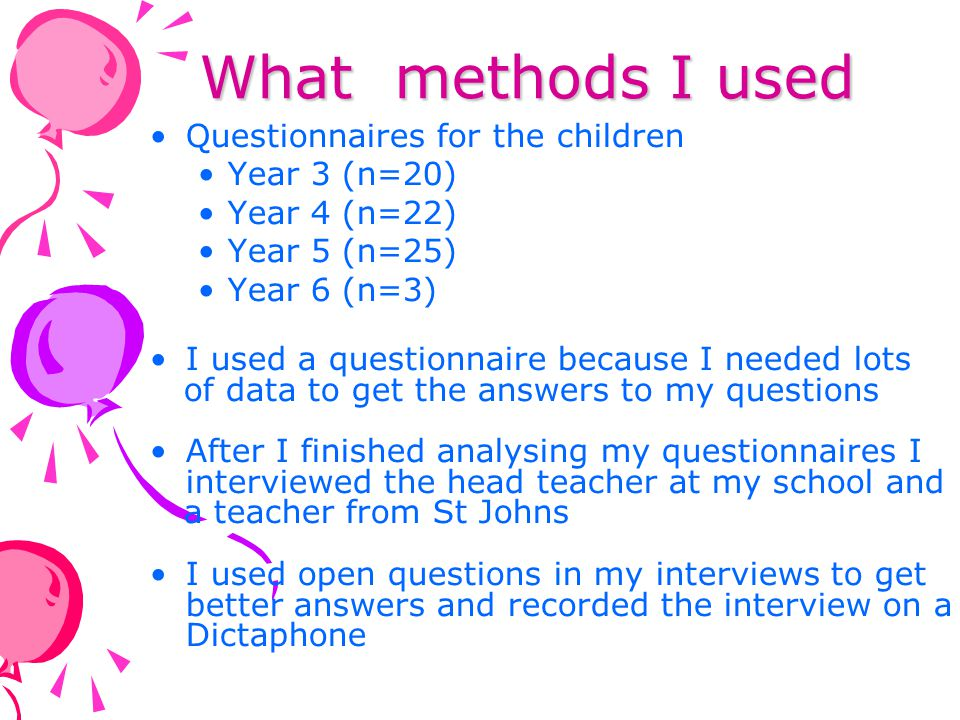 What methods I used Questionnaires for the children Year 3 (n=20)