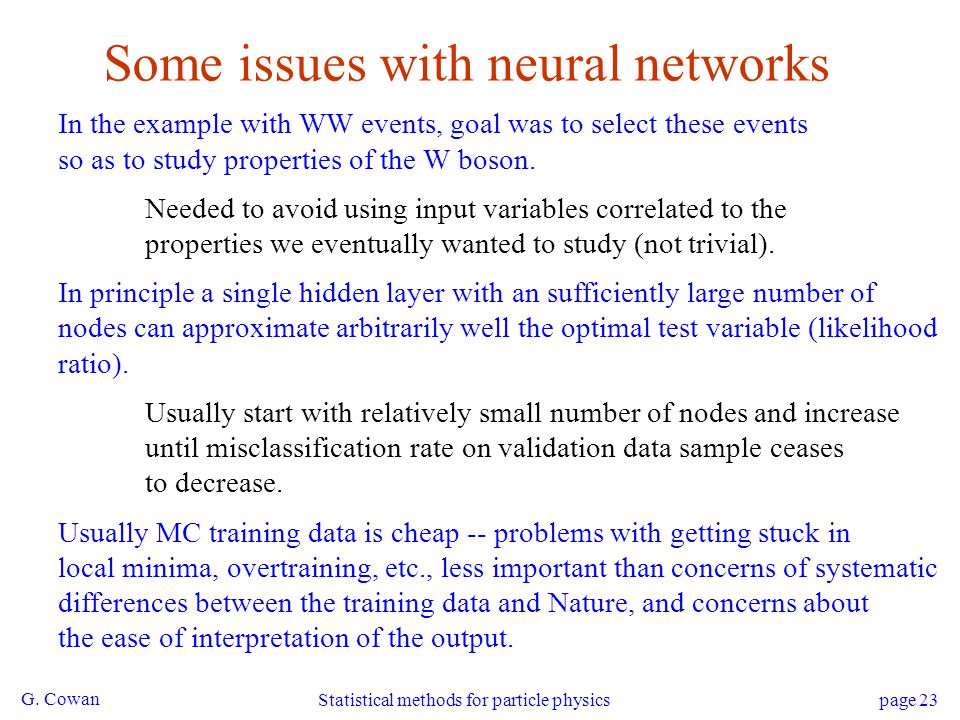 Some issues with neural networks