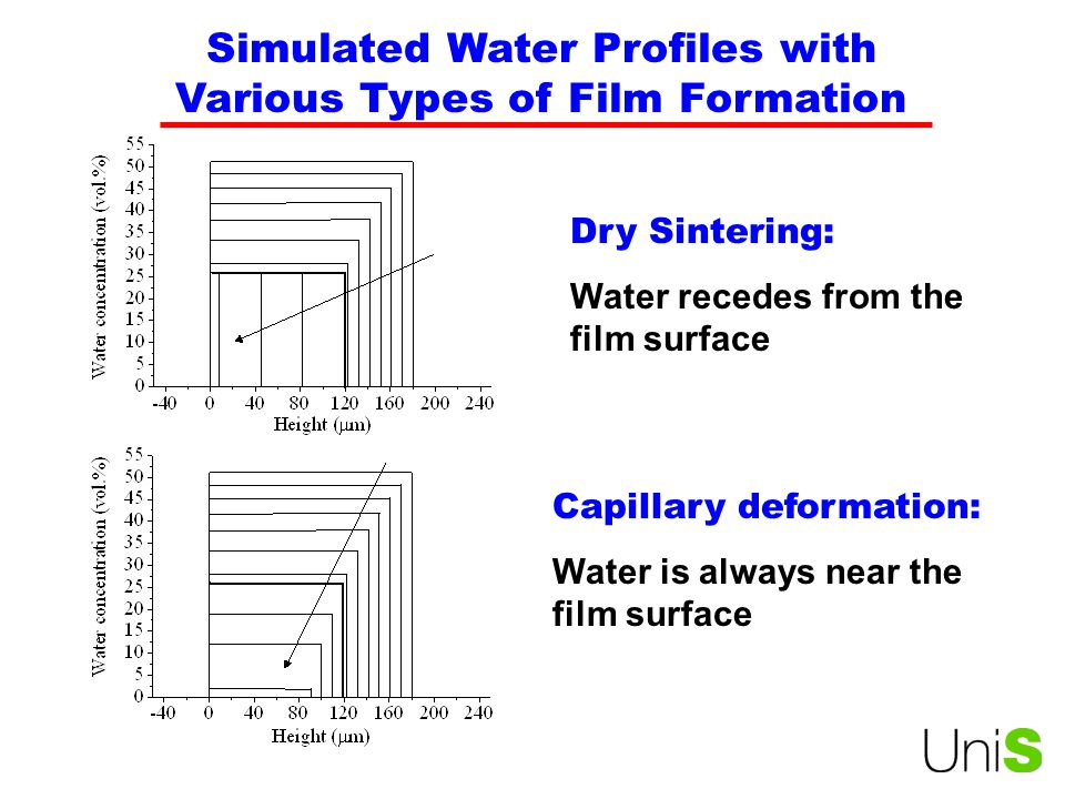 Simulated Water Profiles with Various Types of Film Formation