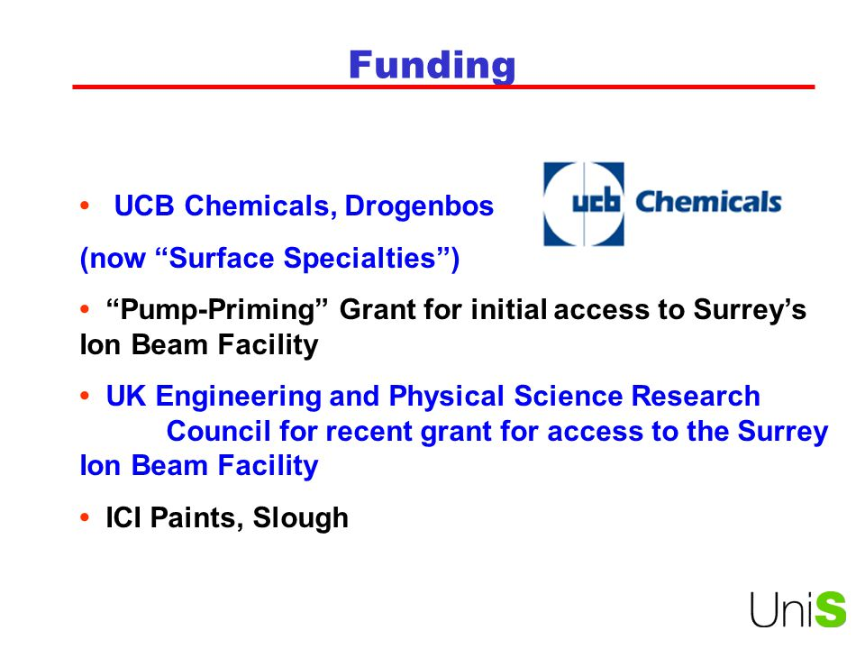Funding • UCB Chemicals, Drogenbos (now Surface Specialties )