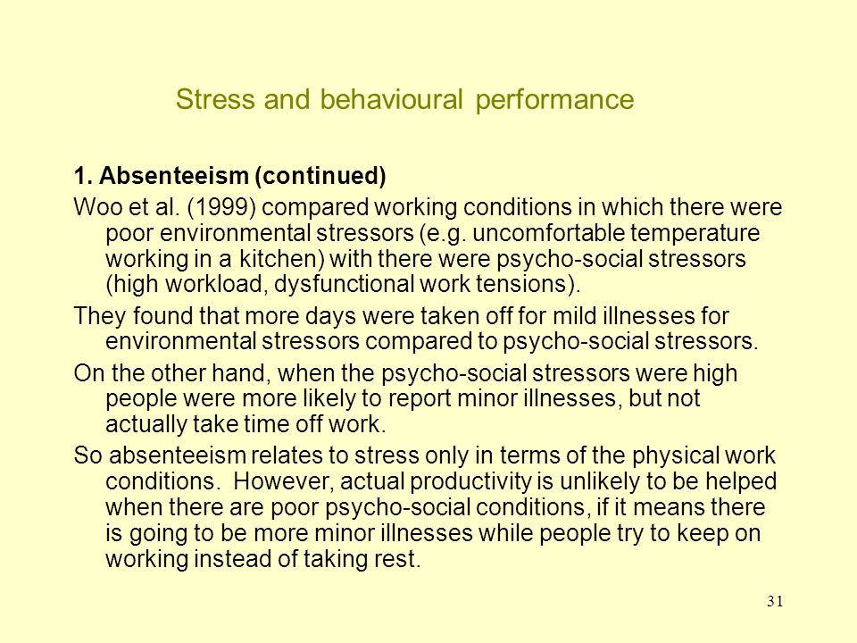 Stress and behavioural performance