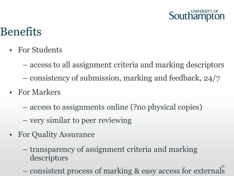 Benefits For Students. access to all assignment criteria and marking descriptors. consistency of submission, marking and feedback, 24/7.