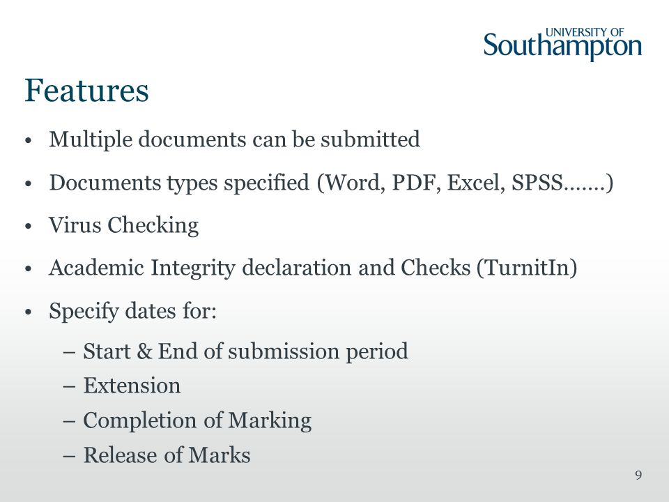 Features Multiple documents can be submitted