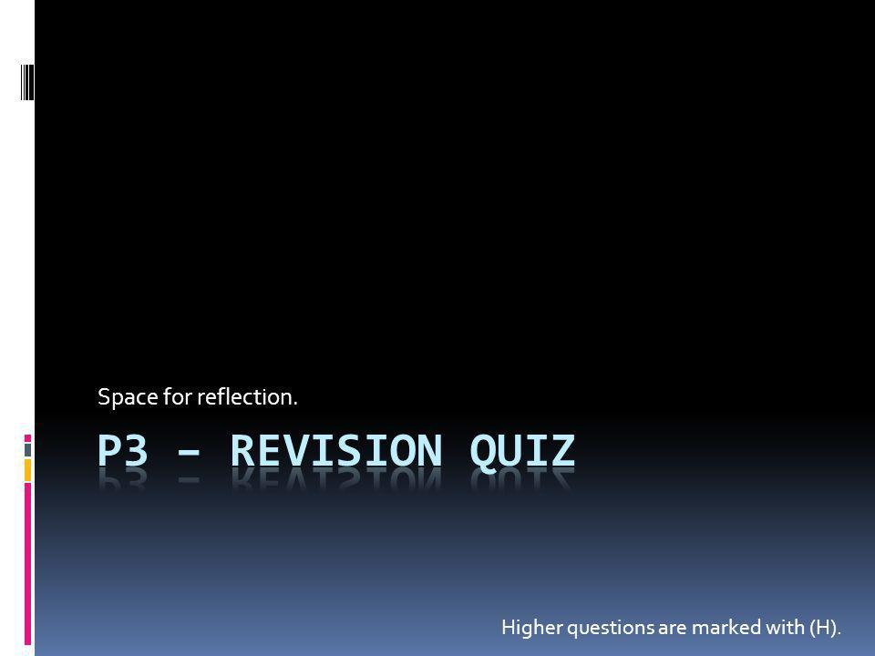 P3 – Revision Quiz Space for reflection.