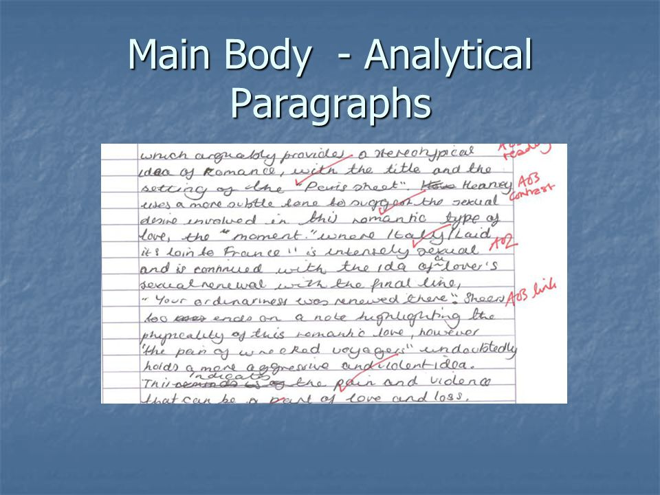 Main Body - Analytical Paragraphs