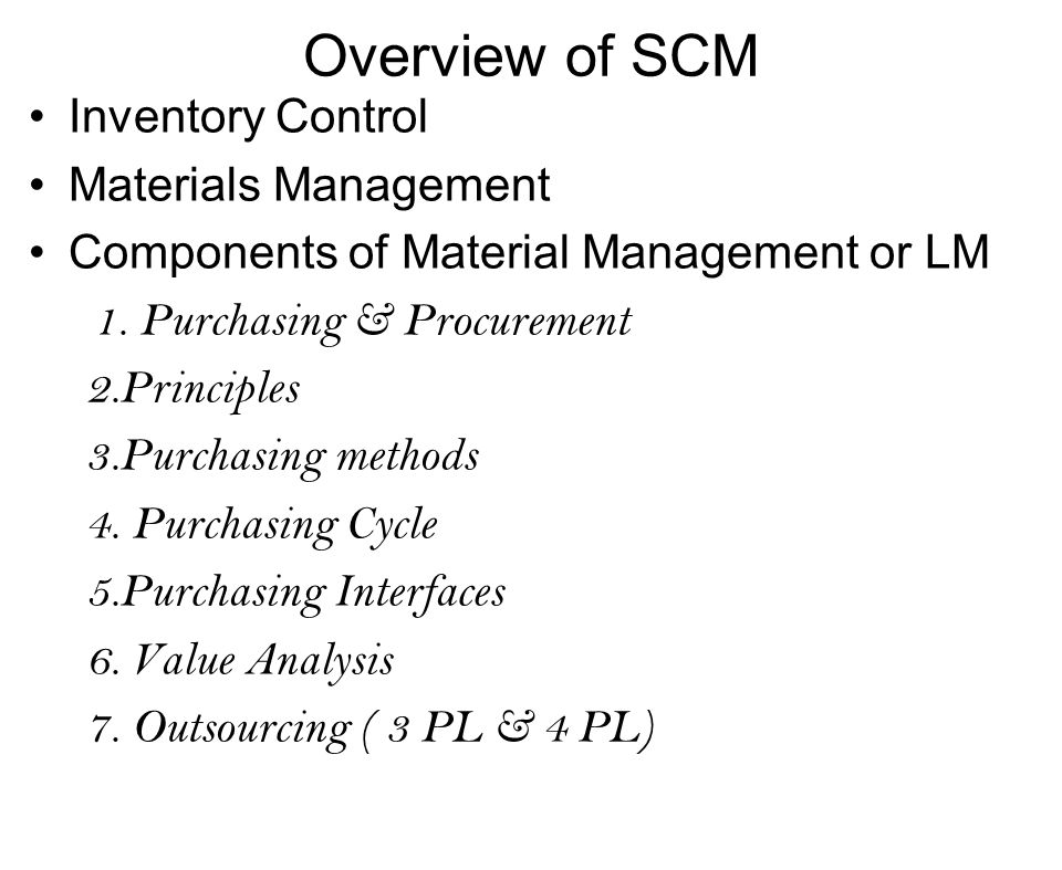 Overview of SCM Inventory Control Materials Management