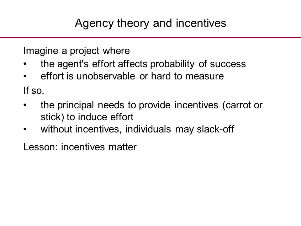 Agency theory and incentives