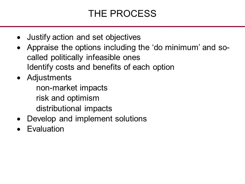 THE PROCESS Justify action and set objectives